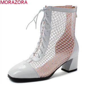 big size 33-48 fashion women boots simple lace up solid color ankle boots spring autumn square heels ladies shoes210