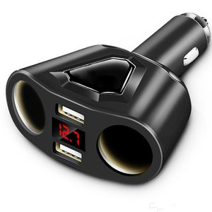 Hot 3.1A Dual USB Car Charger with 2 Cigarette Lighter Sockets Power Support Display Current Volmeter for Phone Tablet GPS With Retail Box