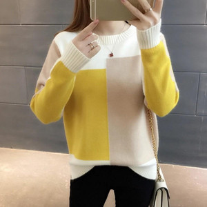 Gumprun Fall Winter Women Knitted Crewneck Sweater Fashion 2021 Casual Sweaters Long Sleeve Loose Elasticity Splice Pullover Top