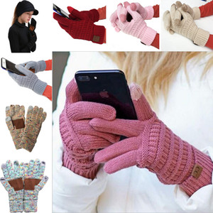 Cc Knitted Winter Gloves Solid Color Unisex Touch Screen Gloves Winter Cc Knitting Touch Screen Smart Cellphone Five Fingers Gloves