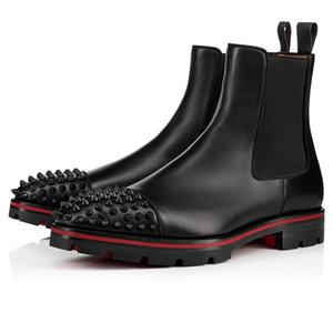 Luxus-Designer Männer Ankle Boots-Rot-Unterseite Melon Nieten Stiefel aus schwarzem Kalbsleder Gummischuh Sole Mens beiläufige Art und Weise Booty-Partei-Hochzeit Schuhe
