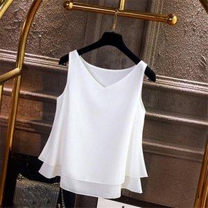 2020 summer white women Tank Tops Women's Summer Sleeveless Chiffon Shirt Solid V-neck Casual Blouse Top