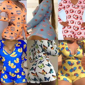 Donne Casual Tute un pezzo dal manicotto lungo del tasto Up ha stampato il pagliaccetto tute sexy profondo scollo a V bodycon Abbigliamento Homewear
