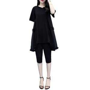 Black Plus Size Large Big Tracksuits for Women Outfit 2 Piece Co-ord Set Matching 2019 Summer Top and Pant Suits Loose Clothing