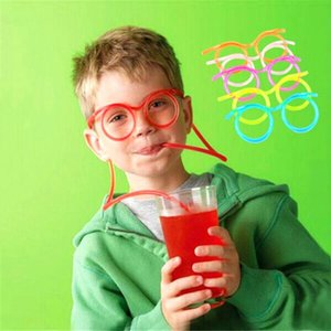 Creative Fun Child Glasses Straw Soft Plastic Straw Glasses Flexible Drinking Straws Tube Tool Kid Party Supplies Bar Accessories