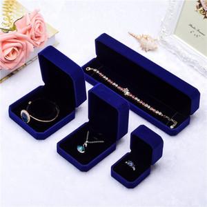 Multicolour Samt Ornament Geschenkbox Wenden Sie drei Typen Schmuckbehälter Anhänger Halskette Ring Ohrring Aufbewahrungskoffer 3 69mn L2