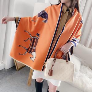 Fashion Winter Scarf Women Cashmere Warm Foulard Lady Horse Scarves Thick Soft Bufanda Shawls Wraps 2019 New
