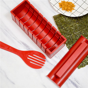 10 Pieces set DIY Sushi Maker With Specification Plastic Onigiri Mold Rice Mould Kits Kitchen Bento Accessories Tools LLA189
