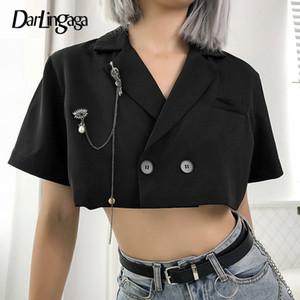 Darlingaga Streetwear Chic Veste noire Blazer femmes Broche recadrée de la chaîne Femmes Blazers et vestes Manteaux double breasted 2020 C1008