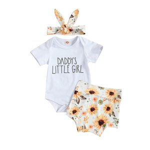 2021 Nuevo verano 0-18m Baby Girl 3pcs Set Daddy's Little Niña de manga corta Letra de la letra de la letra de la impresión + Pantalones cortos de impresión de girasol + Diadema