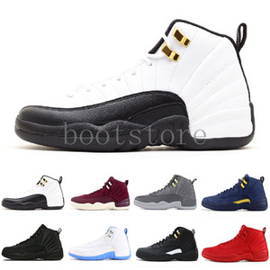 Mens 12s basketball shoe Winterized WNTR Gym Red Michigan Bordeaux 12 white black The Master Flu Game taxi sports sneaker trainers size OMH2