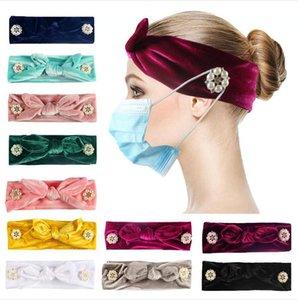 Women Button Headband Fashion Mask Holder Elastic Headband Rabbit Ears Head Wrap Bandana Pure Color Hair Accessories Party Favor