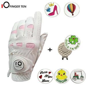 Для женщин Гольф перчатки с Маркером Ball и Hat клип Левой Правой руки мягкой кожи Дополнительной ручкой для дадут размеры S M L XL 201027