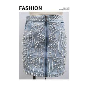 Womens 2020 Verão Designer Alto Cintura Denim Saia Envolvido Hip Skirt Skirt Botão Denim Bead Bead Skirt