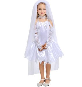 Halloween party girl costume Gothic Vampire Ghost Bride Costumes For kid white Zombie dress Cosplay kid Funny Dress