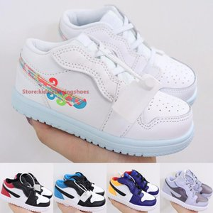 Top Jumpman 1 1s Kids Basketball Shoes Fashion White Multi Black Toe Laser Blue Royal Yellow Island Green Toddler Baby Sneakers Size 22-35