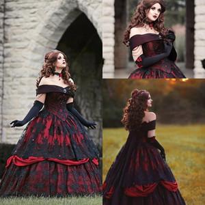 Gothic Belle Rot-Schwarz-Spitze-Ballkleid Brautkleider Vintage Lace-up Korsett Steampunk Dornröschen weg vom Schulter-Plus Size Brautkleider