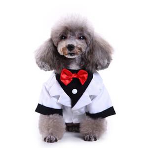 신사 애완 동물 옷 개 정장 줄무늬 턱시도 나비 넥타이 개를위한 공식적인 드레스 할로윈 크리스마스 복장 고양이 재미있는 의상 201114