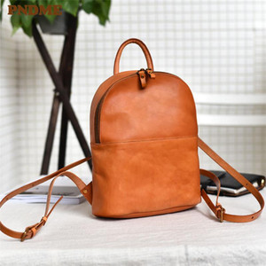 PNDME Fashion Vintage Genuine Leather Ladies Small Zaino Semplice Casual Casual di alta qualità Soft Cowhide Donna Carino Bagpack Bookbag