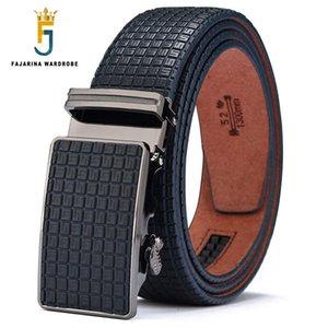 Pelle Fajarina Mens Quality Design Blu pelle bovina della cinghia della novità plaid lega automatico metallo degli uomini Cinture Casual 35mm largo N17fj430