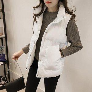 Vest Cotton Clothing Women's 2020 Autumn Winter Korean Loose Sleeveless Pocket Single Breasted Down Cotton Waistcoat Female Q308