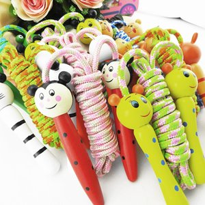Aerobic Exercise Skipping Kids Wood Skipping Jump Rope Wooden Green Bee Cartoon Animals Toy Party Favor Supply Fitness Free Shipping