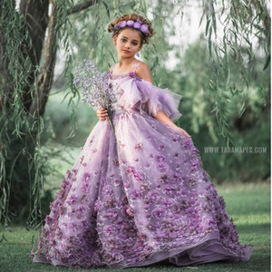 Purple Flower Girl Dresses for Wedding Spaghetti Straps 3D Floral Appliqued Little Kids Pageant Gowns A Line Vestidos De Desfile