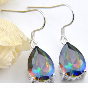 6 Pairs Luckyshine Superb Drop Shiny Rainbow Mystic Topaz Gems 925 Sterling Silver Plated Earrings Russia Canada Earrings Jewelry New