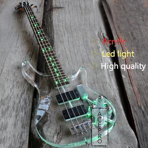 4 String LED Light Light Acrilico Electric Bass Guitar, Green Color LED Acrilico Body Neck Neck Bass