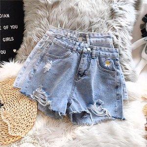 Ailegogo New Summer Women Floral Print Embroidery Blue Denim Shorts Casual Female High Waist Hole Frayed Wide Leg Jeans Shorts