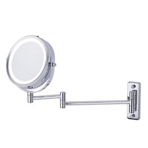 Fissato al muro di trucco dello specchio LED bifacciale 360 giri specchio 5X ingrandimento per bagno 66CY