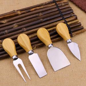 4 قطع مجموعة جبن سكاكين مع مقبض الخشب الصلب غير القابل للصدأ تقطيع اللحم والجبن جبن القاطع سكاكين المطبخ RRA3785