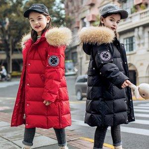 OLEKID 2020 -30 Degree ragazze Cappotto incappucciato reale Raccoon Fur Down Jacket For Girls 5-14 anni adolescenti Ragazze Capispalla Parka 1011