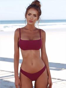 New Summer Women Solid Bikini Set Push up UnPadded Bra Swimsuit Swimwear Triangle Bather Suit Swimming Suit biquini
