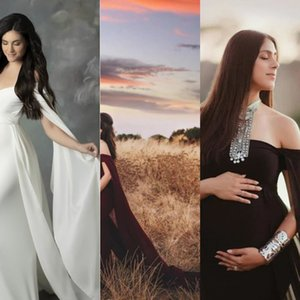 ATUw2 Kadın hamile kadınların çırpınan kuyruk çırpınan kollu tulum tulum fotoğrafçılık elbise elbise 6658 Merserize pamuk merserize