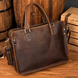 Vintage Genuine Leather Men Briefcases Crazy Horse Leather Handmade Business File Document Laptop Bag Large Capacity Pack