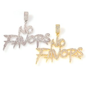 Men Hip hop Iced out bling NO FAVORS Letters pendant necklaces micro pave zircon fashion necklace men women Hiphop jewelry
