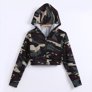 38 Winter Womens Hoodies Camouflage Print Shirt Long Sleeve Blouse Hooded Short Blouse Fashion Casual Jumper Sweatshirt 2020