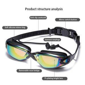 Adult Professional Swimming Goggles With Earplugs Swimming Glasses Durable Silicone Swimming Goggles Anti Uv Black Blue Sqcbfi Hom