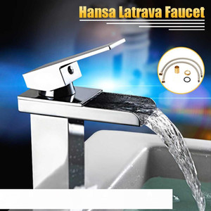Modern Brass Chrome Mixer Tap Waterfall Kitchen Bathroom Basin Sink Faucet Holes With Stainless Steel Pipe Bathroom Cloakroom