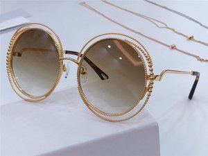Fashion spiral pattern round retro frame new popular design sunglasses light color protection decorative glasses top quality 114s