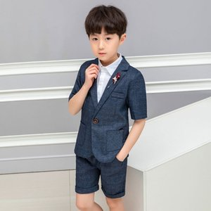 Summer Formal children suit Sets Flower boys short-sleeved Blazer Shorts Outfits Kids handsome Wedding Party performance Costume T200820