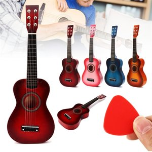 """6 Strings Children Wooden Acoustic Guitar Musical Instrument Toy Early Educational Learning Toys Kids Toy Gifts 4 Colors 23"""" Y200428"""