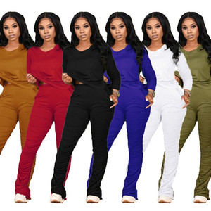2020 Women Two Pieces Outfits Sexy Solidlong Sleeve High Waist Tops Pleated Trousers Ladies New Autumn Fashion Casual tracksuit