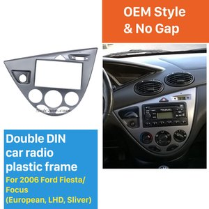 Silver Double Din Car Radio Frame DVD Player Fascia Dash Mount Kit for 2006 Ford Fiesta Focus European LHD