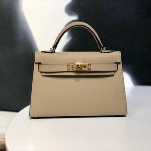 Designer Luxus Brieftasche Handtasche Messenger Bag Epsom Leder Handmade Wachsgewinde Nähverfahren S2 Windjacke Grau Goldschnalle 19cm