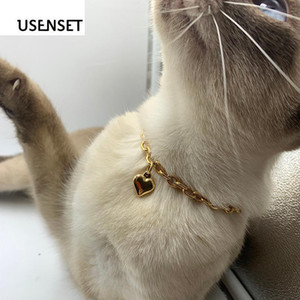 USENSET Charm Necklace 6mm Gold color Heart Collar Chain for Pet Dog& Cat Jewelry Stainless Steel Necklace Holiday Decoration1