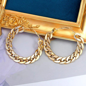 JUST FEEL 2020 New Design Vintage Chain Hoop Earring For Women Big Gold Silver Color Round Brincos Jewelry Female Statement Gift