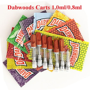 DabWoods Carts Vape Cartridges Empty Vape Cartridge 1.0ml 0.8ml Packaging Bags 10 Colors Wood Tips Oil Atomizers 510 Thread Vaporizer