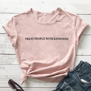 Treat people with kindness T Shirt Graphic Yellow Tee Aesthetic Casual High Quality Cotton Tops Girl Like Tumblr Crewneck Shirt
